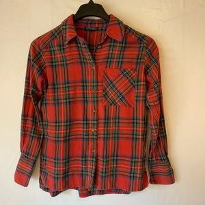 Topshop Red Plaid Long Sleeve Top
